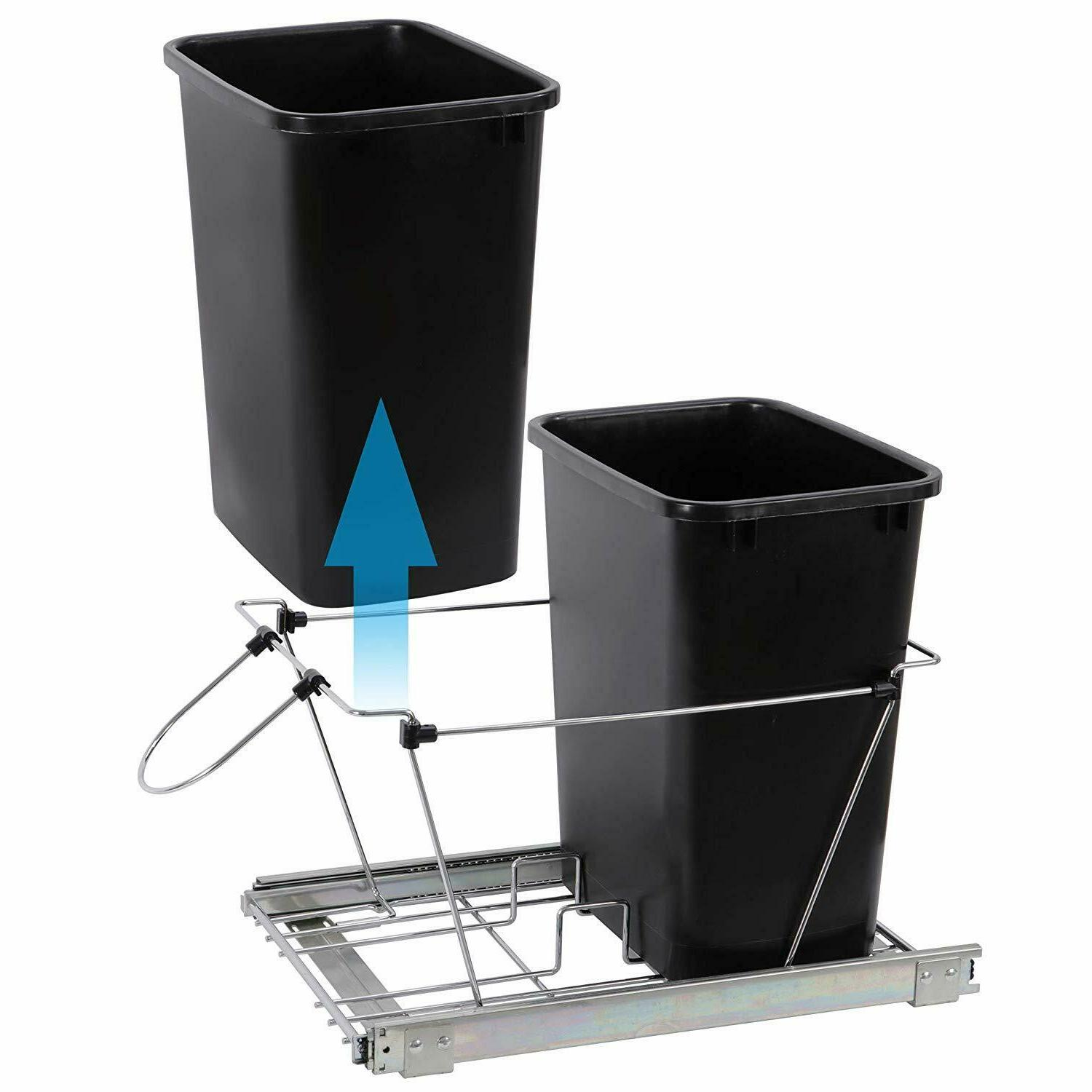 Pull Trash Kitchen Under Waste Container Double Quart