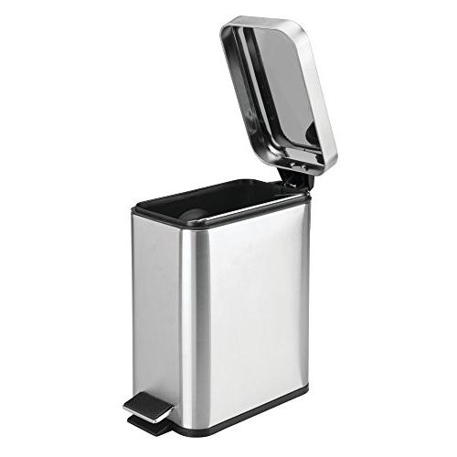 mDesign Small Stainless Trash Can Wastebasket, Container Powder Craft Removable Liner Bucket,