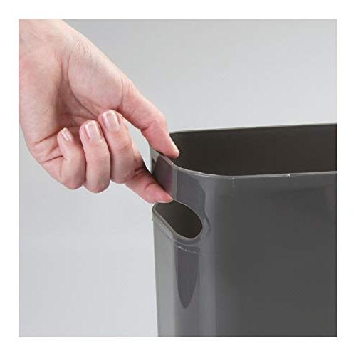 """mDesign Slim Large Wastebasket, Garbage Container for Kitchen, Office, Dorm, - 12"""" High, 2 Pack Gray"""