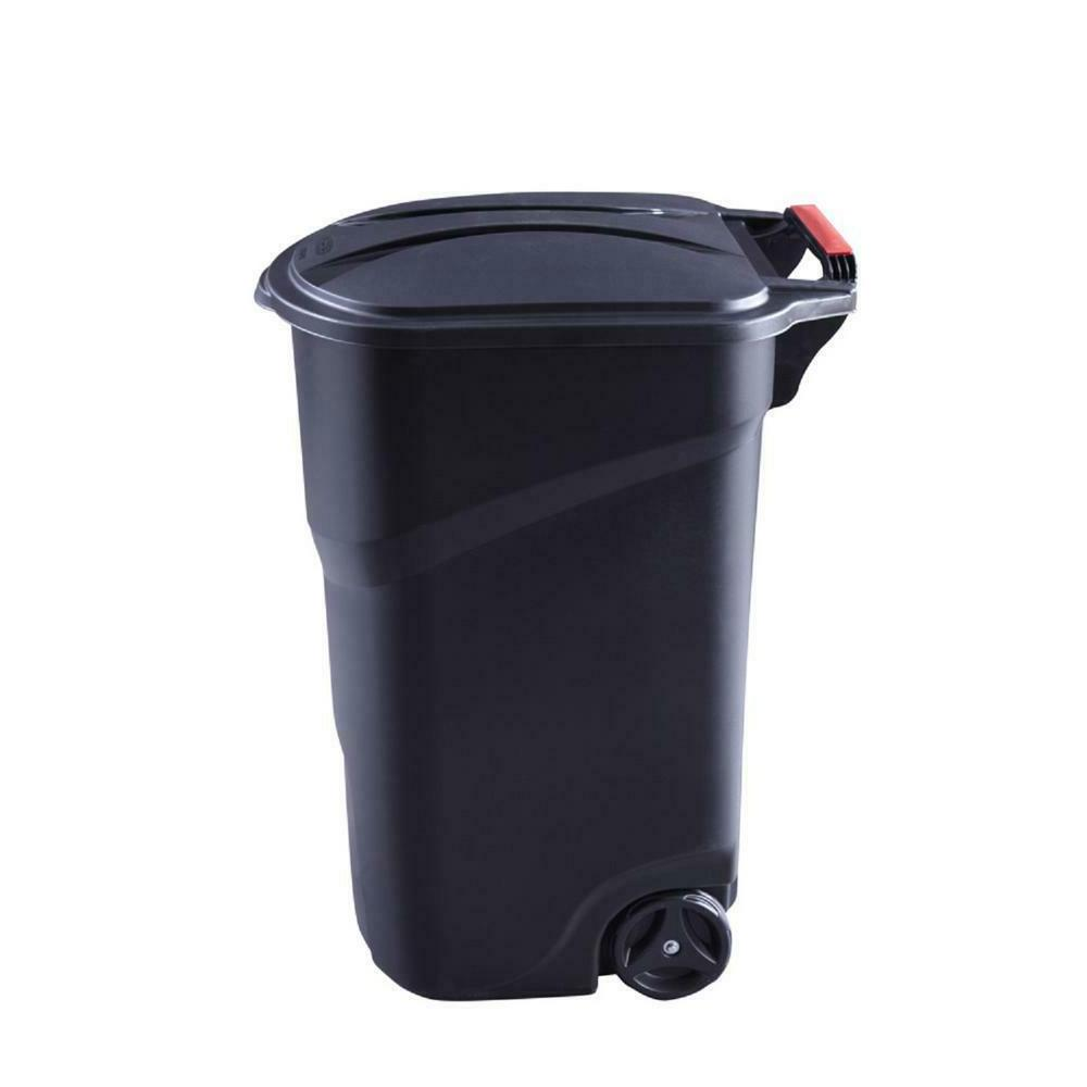 Rubbermaid Roughneck Trash Can With Lid Wheeled Garbage Bin