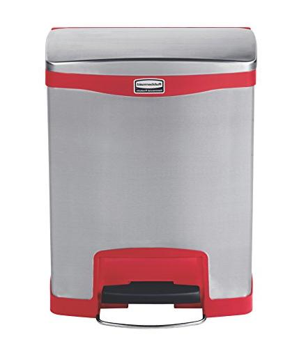 Rubbermaid Commercial Slim Stainless Steel Front Wastebasket, 8-gallon,