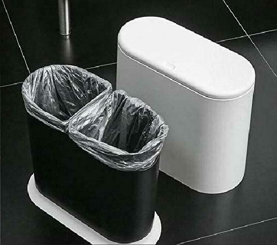 PENGKE Slim Can Gallon Garbage Can with Top Lid,White Mo