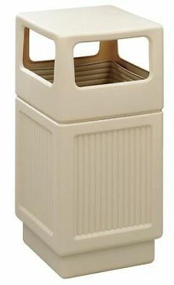 Safco 38 gal. Square Tan Trash Can w/ Disposal Opening, 9476