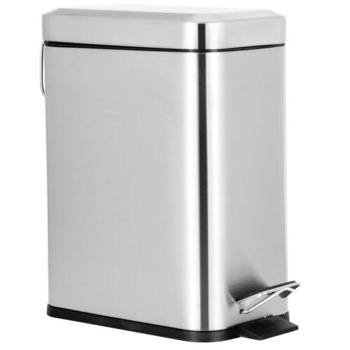 5L Stainless Steel Can Pedal Wastebasket Ashcan