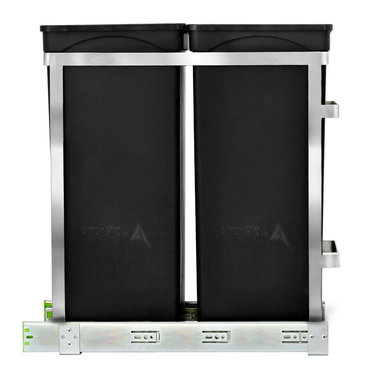 AdirHome Steel Pull-Out Under Counter Trash Cans Cabinet