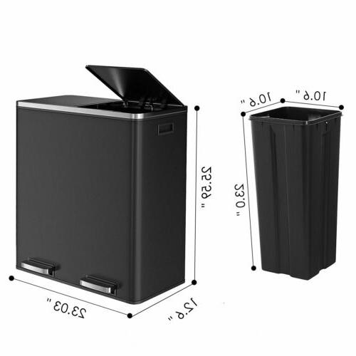 60 L Stainless Steel Step Trash Can & Recycle Dual