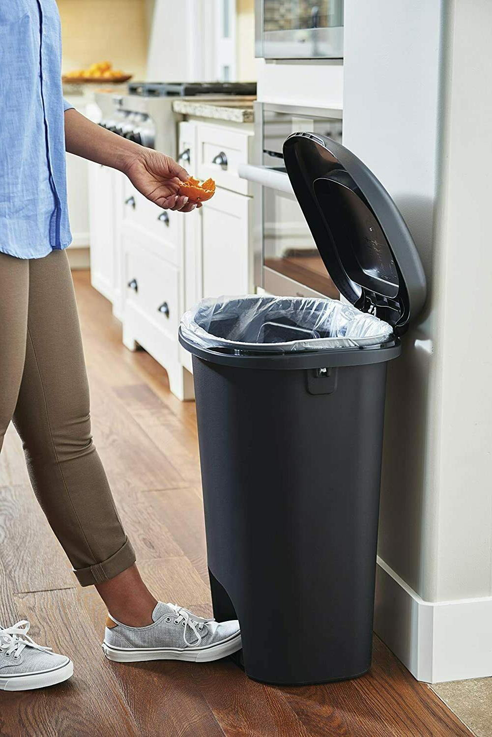 Rubbermaid Step-On Lid Trash Can for Home Kitchen and Bathro
