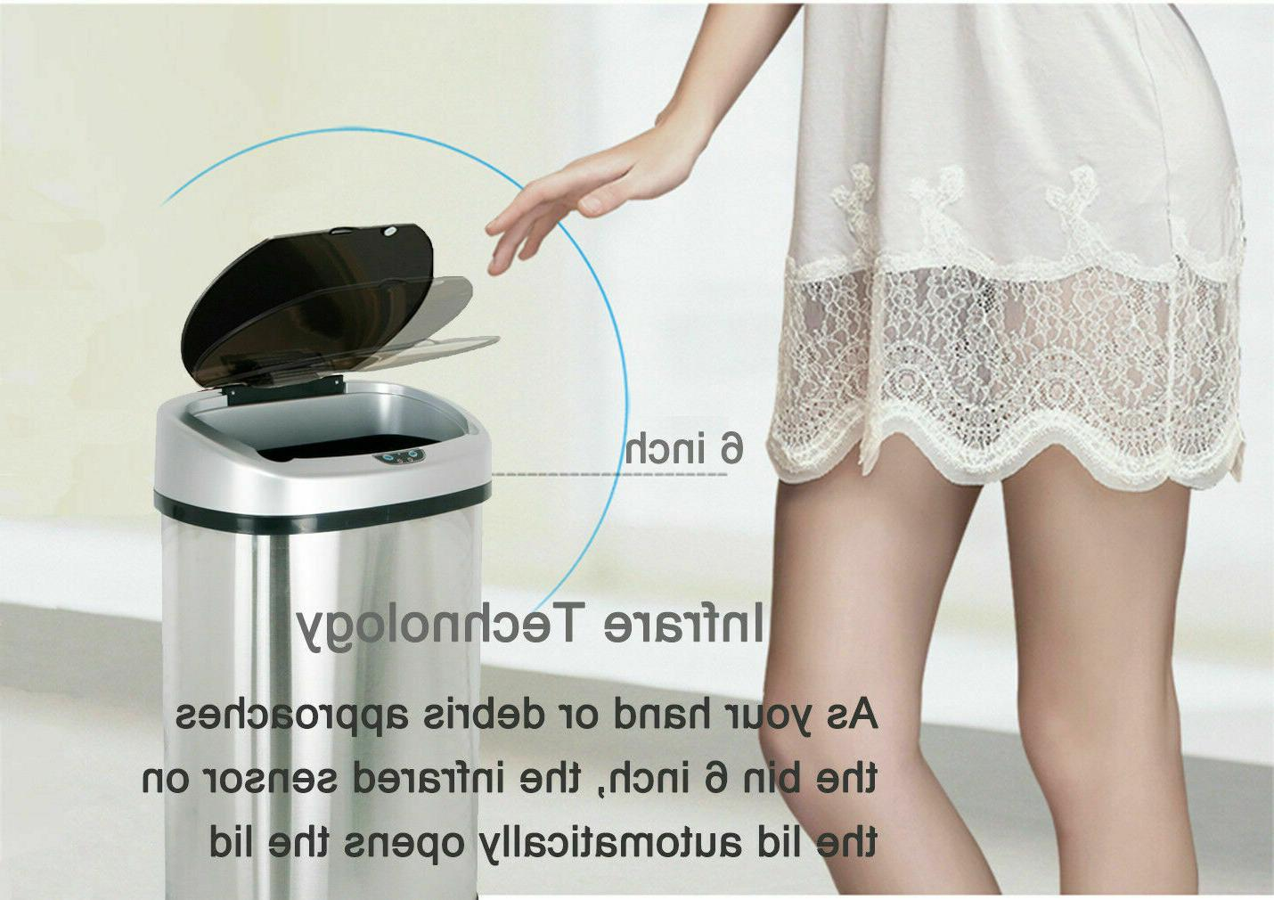 Trash Can Garbage Sensor Steel Touch Motion