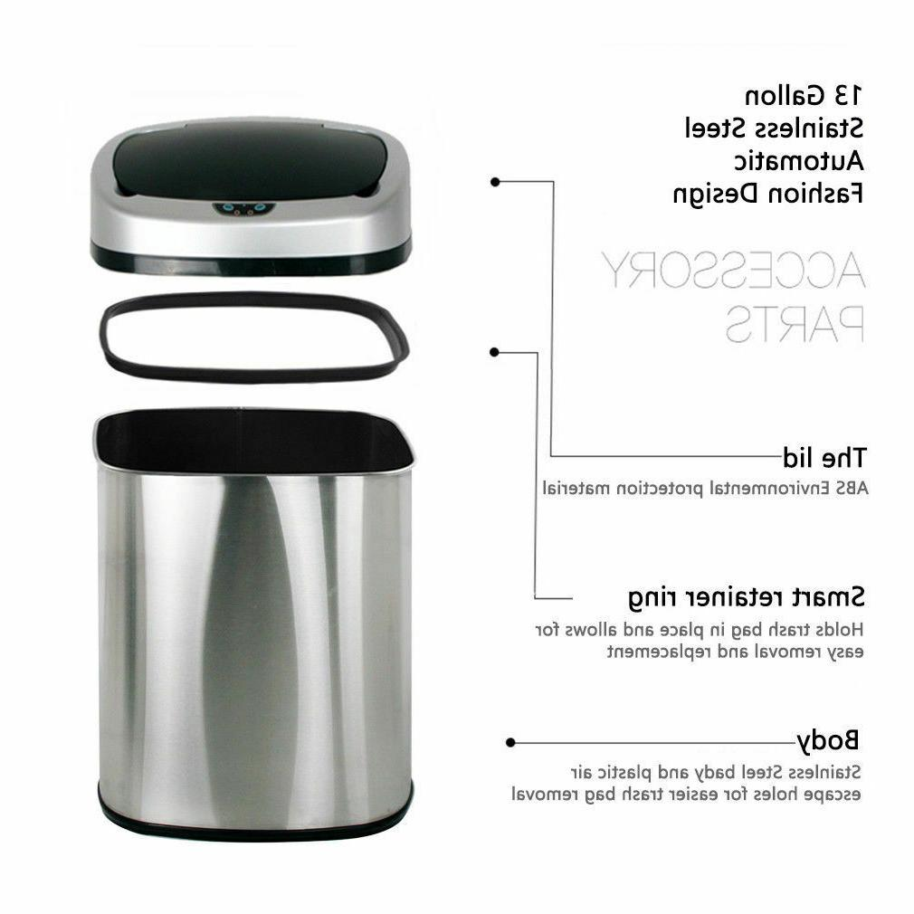 Trash Can Touchless Sensor Automatic Stainless Touch Free Motion