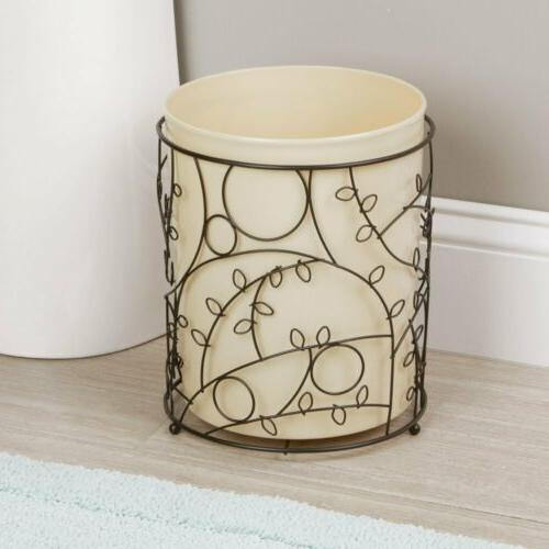 iDesign Wire and Plastic Wastebasket Trash Can