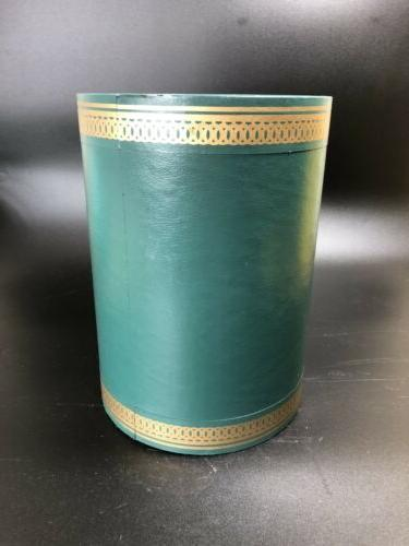 vintage round green gold faux leather vinyl
