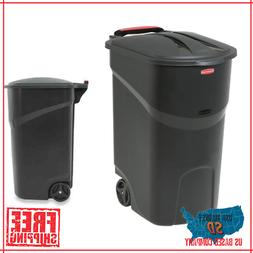 Large Rolling Outdoor Trash Can Wheeled Waste Garbage Bin Pl
