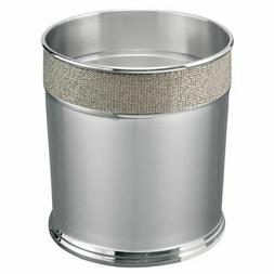 mDesign Metal Round Small Trash Can Wastebasket, Woven Textu