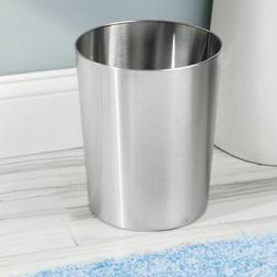 mDesign Metal Round Small Trash Can Wastebasket