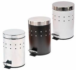 Evideco Metal Step Trash Can 3 liters / 0.8-Gal- Stainless S
