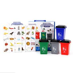Mini Kids Garbage Classification Trash Can with 100Pcs Cards