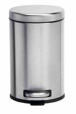 simplehuman Mini Round Step Can, 4.5 Liter, Stainless Steel,