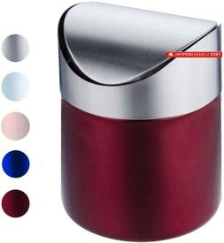 Mini Trash Can With Lid, Brushed Stainless Steel Small Tiny