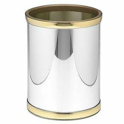 Mylar 10 in. Round Wastebasket in Polished Chrome and Brass