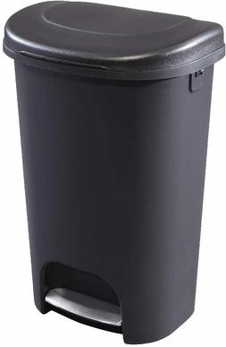 13 Gallon Step-On Lid Trash Can with Hands-Free Pedal Stainl