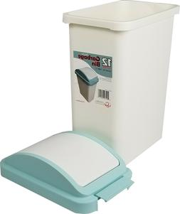 Plastic Trash Can with Swing-Top Cover,12 Liter