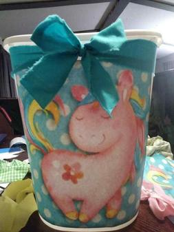 "pink unicorn girls room magical Decorative Trash Can 12"" hig"