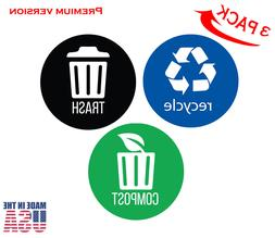 Set of 3 Recycle, Trash & Decal Sticker for trash cans, Home
