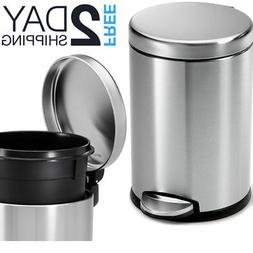 Small Metal Trash Can With Lid Bathroom Touchless Step On St