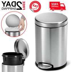 Small Round Step Trash Can For Bathroom With Lid Metal 4.5L