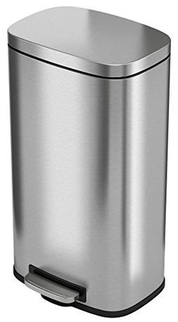 iTouchless SoftStep 8 Gallon Stainless Steel Step Trash Can,