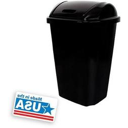 Hefty Swing-Lid 13.5-Gallon Trash Can, Black
