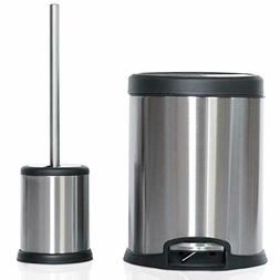 Toilet Brush with Lid and 5L Trash Can Combo Set
