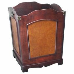 Wood Trash Can Faux Leather Waste Basket Wooden Bin Containe
